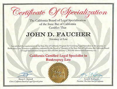Los Angeles Ventura County Bankruptcy Law Specialist Certificate