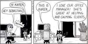 Seb and Karen Office Manager Cartoon